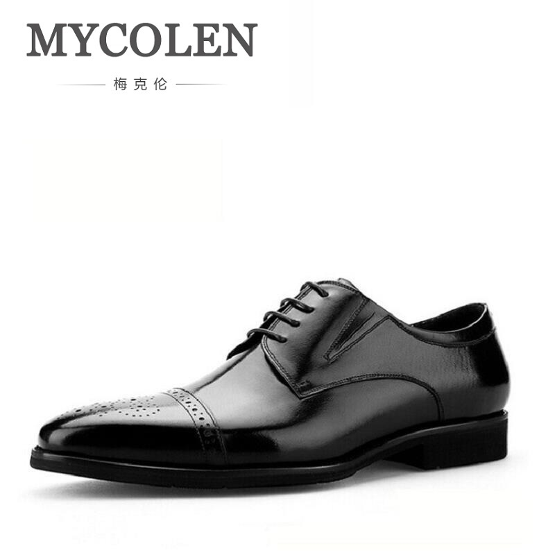MYCOLEN Brand Fashion Brogue Men Oxford Autumn Lace Up Casual Leather Shoes For Men British Style Dress Shoes Heren Schoenen