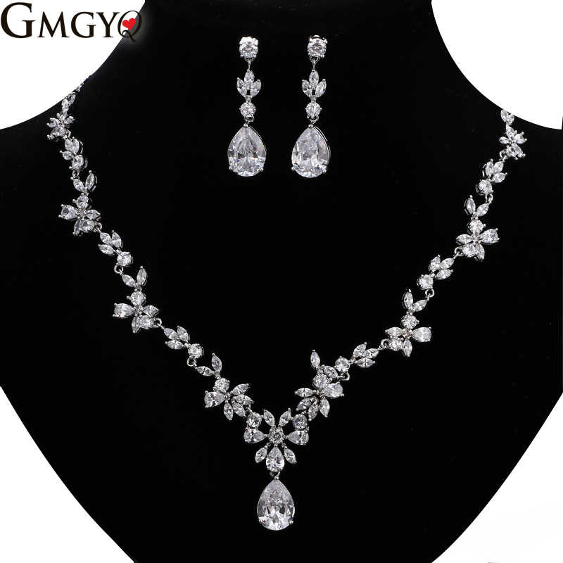 GMGYQ Fashion 2018 New Wedding Costume Accessories Cubic Zircon Crystal Bridal Earrings And Necklace Jewelry Sets For Brides