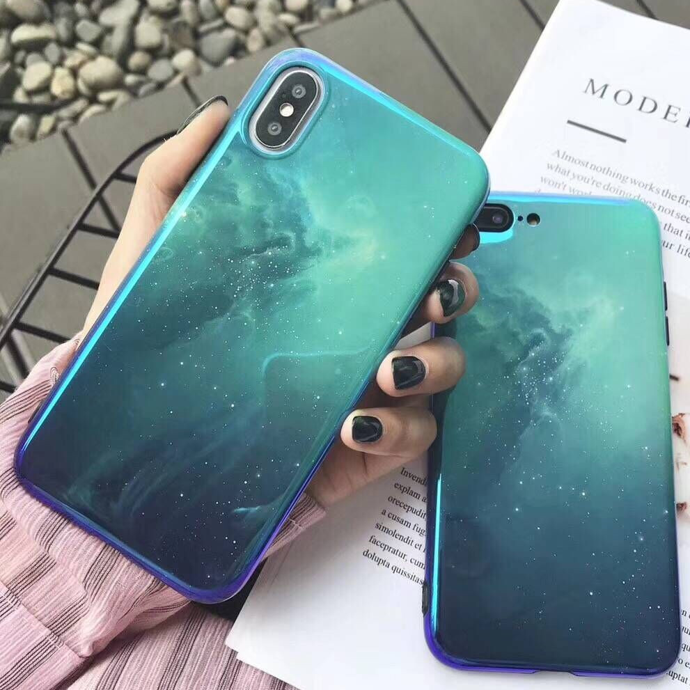 blue gradient starry sky phone case for iphone 6 6s plus back cover cases for iphone x 8 7 6s