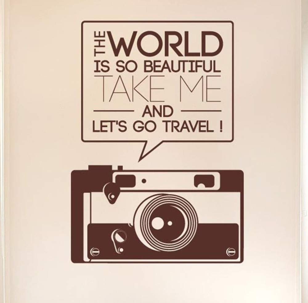 Photographic Memory Quotes: The World Is So Beautiful Quotes Camera Wall Sticker Art