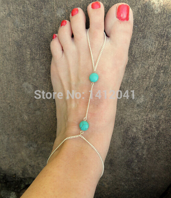 FD762 Fashion Fine Bohemia Summer Beach Turquoise Bead Toe Ankle Bracelet Chain Foot 1pc