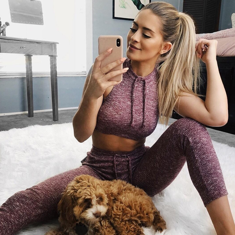 Not Transparent Thick Knitting Sporting Women Sets Drawstring Crop Tank Tops And Slim Leggings 2 Pieces Set Fitness Tracksuits