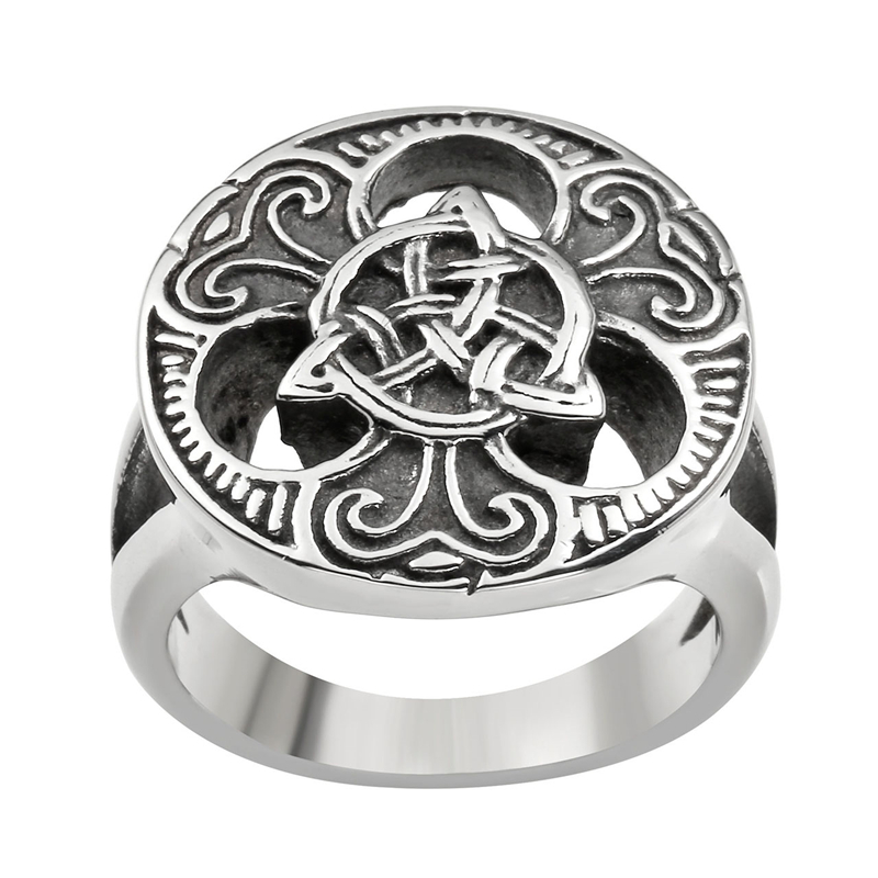 Ayliss Men S Stainless Steel Round Band Ring Silvery Black Tone Celtic Knot Design Size 9