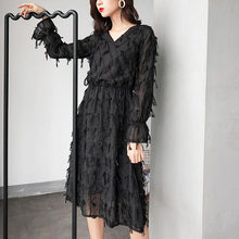 24b255486ef2b Fashion black feather one-piece dress women autumn winter long sleeve V-neck  midi dress A-line slim high waist female knee dress