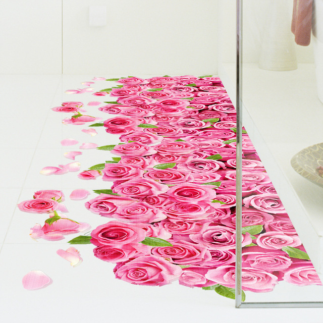 3D Romantic Pink Rose Flowers PVC Waterproof Floor Sticker Living ...