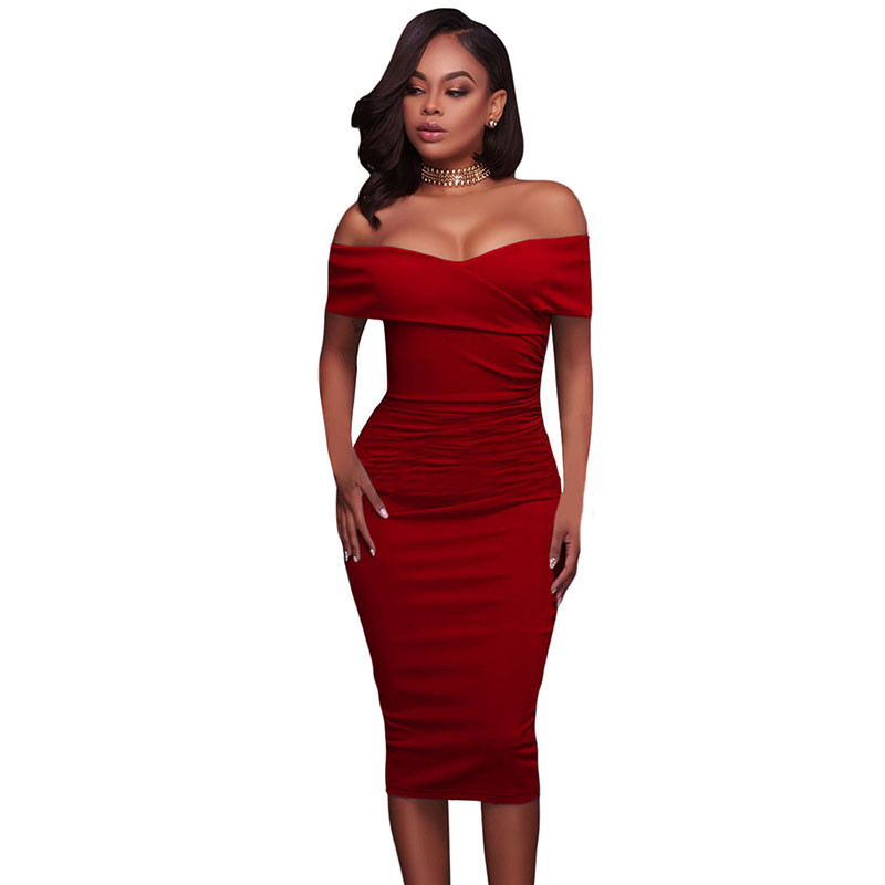 ADEWEL Women Sexy Off Shoulder Strapless Midi Dress Ruched Elegant Bodycon Dress Party Clubwear Pencil dress 37