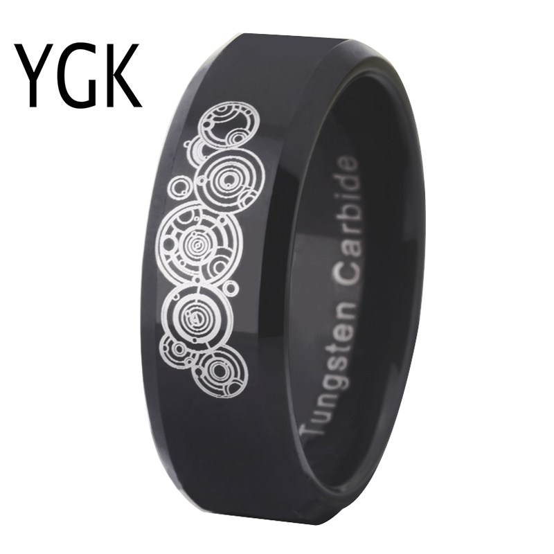 New Women Wedding Rings Doctor Who Time lord Rings Men Fashion Engagement Jewelry Black Tungsten Carbide Ring Party Ring Gift doctor who archives prisoners of time omnibus