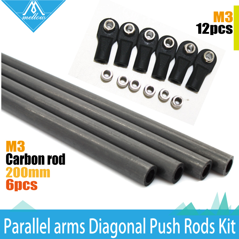 1 set Rostock Delta Kossel mini k800 ID :3 mm and Rod OD: 5mm 200mm Arms Carbon Diagnonal push rods full Kit Rod for 3d printer