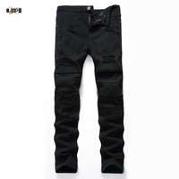 Idopy Men S Ripped Jeans Black High Street Designer Distressed Slim Fit Hip Hop Skinny Street