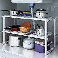 2 Tiers Expandable Kitchen Storage Multi Functional Rack Adjustable Stainless Steel Under Sink Organizer Storage Shelf Cabinet