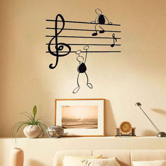 Online Shop D433 Wall Sticker Music Notes Funny Guys for Living Room ...