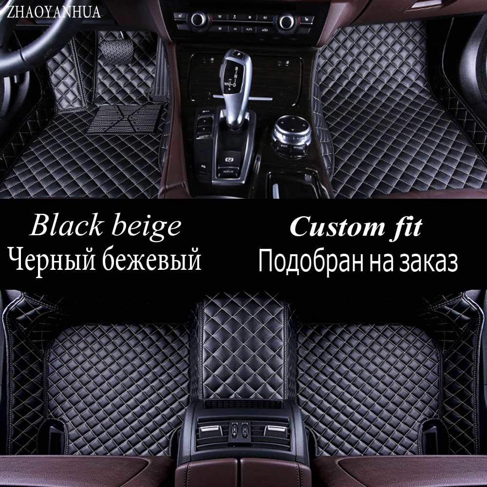 ZHAOYANHUA car floor mats for Hyundai ix25 ix35 Tucson Santa Fe Elantra Sonata Solaris full cover case carpet rugs liners custom fit car floor leather mats anti skid for hyundai ix35 ix25 elantra santa fe sonata tucson accent 3d car styling liner