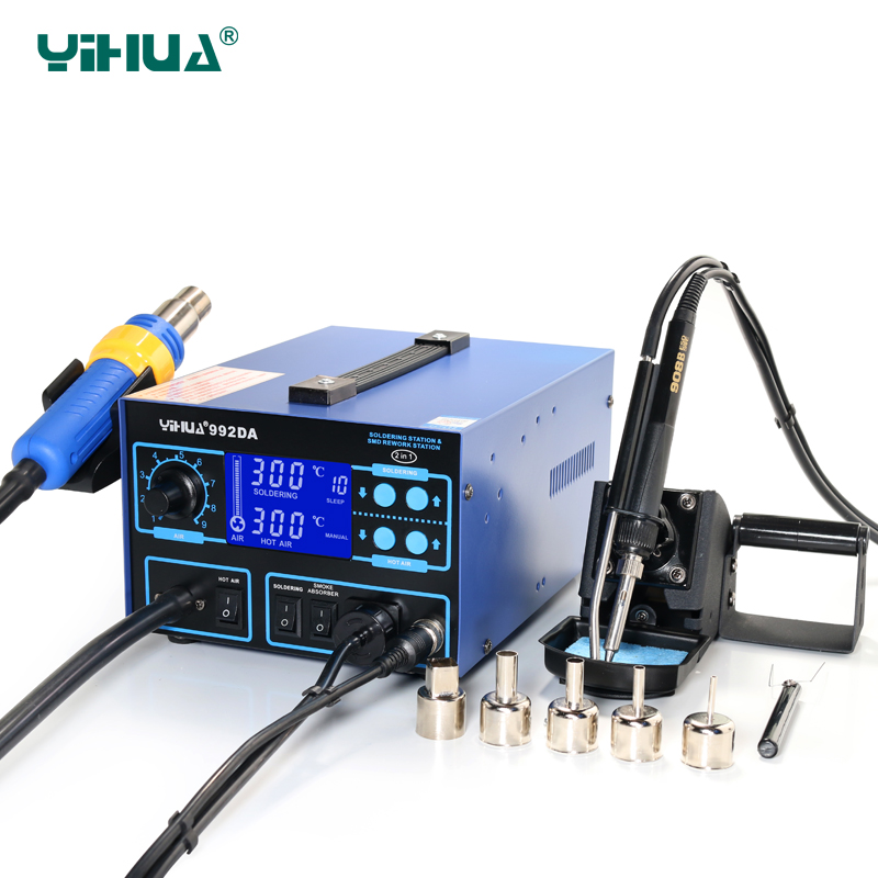 YIHUA-992DA SMD Smoke Absob Air Heat Gun Soldering Station For Soldering And Desoldering