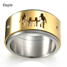 Eleple Stainless Steel Popular Family Series Rings for Men Double Deck Rotation Hollow Zircon Ring Anniversary Jewelry S-R109