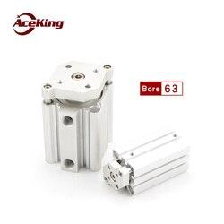 Dünne drei-bar zylinder mit führungs stange CDQMB63 cqmb63-5/10/15/20/25/30 /40/50 mit magnet befestigung CDQMB63-30 CDQMB63-75