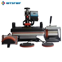 Wtsfwf 30*38CM 5 in 1 Combo Heat Press Printer 2D Sublimation Vacuum Heat Press Printer for T shirts Cap Mug Plates