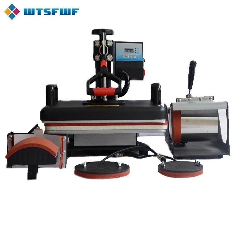 Wtsfwf 30*38CM 5 in 1 Combo Heat Press Printer 2D Sublimation Vacuum Heat Press Printer for T shirts Cap Mug Plates