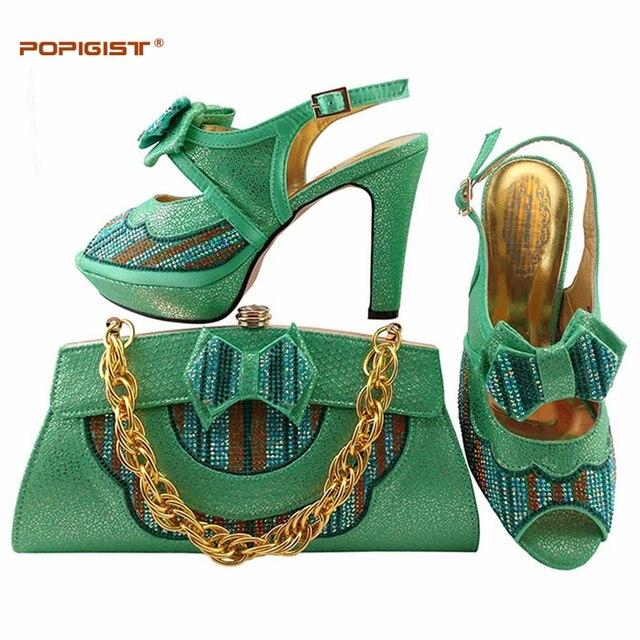 Scarpe e borse da abbinare Decorato con Strass Donne Africane Scarpe  Italiane e Sacchetto Set Acqua d872154d541
