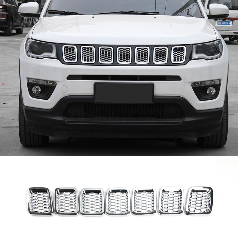 SHINEKA Newest 7pcs ABS Front Grilles Mesh Cover Trim Frame Decoration Ring For Jeep Compass 2017 silver front mesh grilles trim grill cover insert shell honeycomb fit for jeep patriot 11 2015