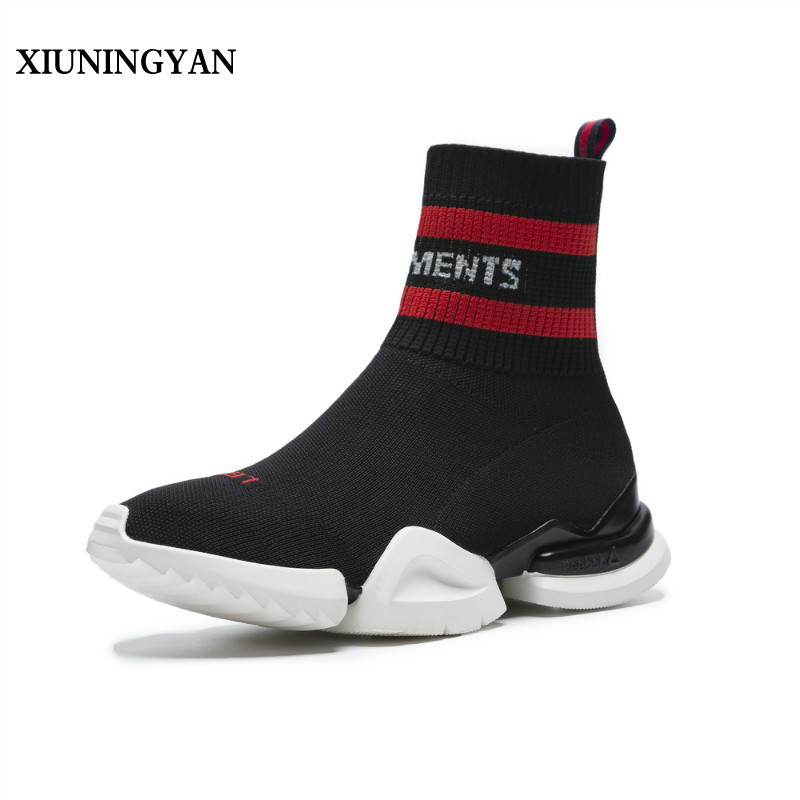 XIUNINGYAN 2018 New Elastic Socks Shoes Women Spring High Lazy Shoes Couple A Pedal Platform Casual Sneakers for Woman's Shoes in the spring of 2017 new products a pedal lazy leopard shoes stitching sponge thick bottom leisure shoes