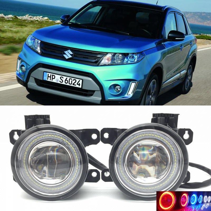 2 en 1 LED Angel Eyes DRL 3 couleurs feux de jour coupe-ligne lentille antibrouillard pour Suzuki Grand Vitara/Vitara 2012-2017