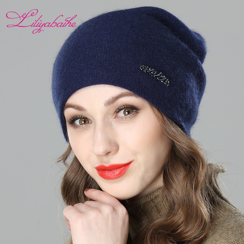 LILIYABAIHE Women Autumn And Winter Hat angora Knitted Skullies Beanies Cap diamond decoration hats for Girls
