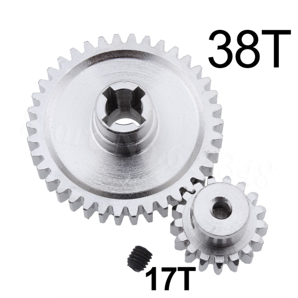 2pcs Metal WLtoys A959 Steel Diff Main Gear 38T & Motor Pinion Gear 17T For 1/18 Electric Buggy Vortex front diff gear differential gear for wltoys 12428 12423 1 12 rc car spare parts
