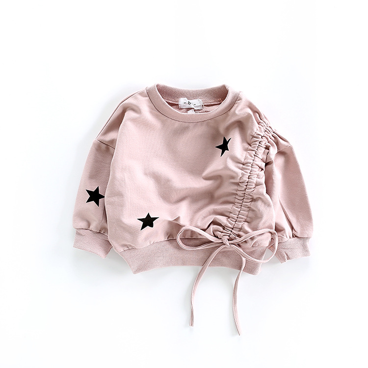 Baby Girls Sweatshirt Kids Long Sleeve Tops 100% Cotton 2018 Brand Spirng Clothes Girls T Shirts Hoodies Children Clothing 1-6T round neck long sleeve 3d coins print sweatshirt