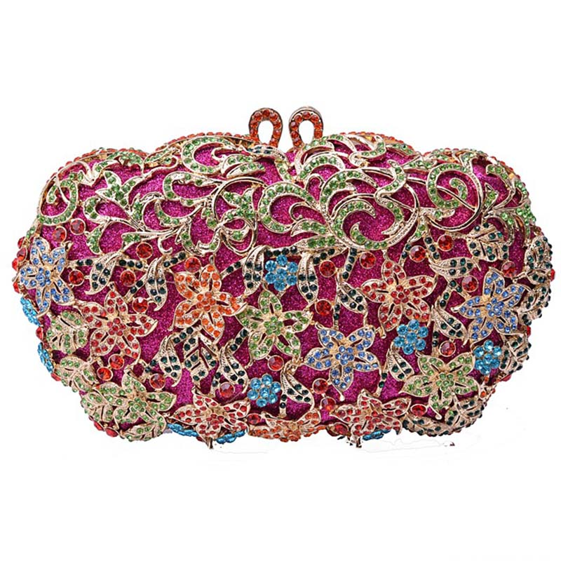 Small Flower Pattern Colourful Diamond Crystal Evening Bag Metal Hollow Out Women Clutch Party Purse Handmade Lady Handbag 8375 blue crystal wedding floral flower bridal party night hollow metal evening purse clutch bag handbag