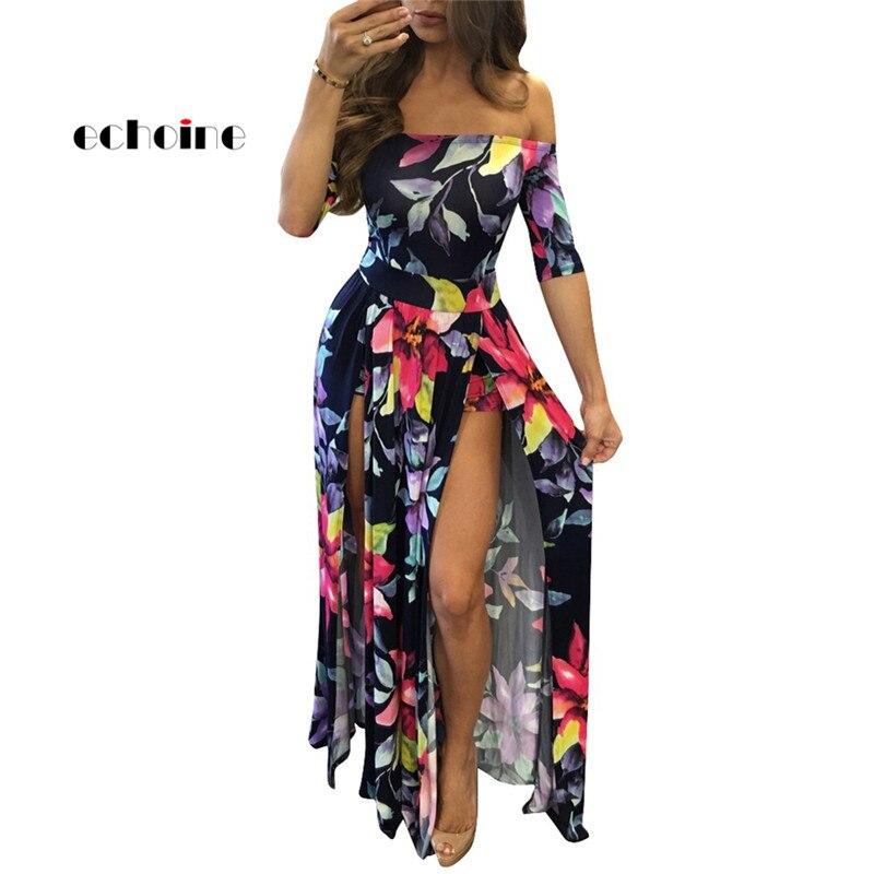 Echoine Women Split Dress Floral Digital Print Half Sleeve