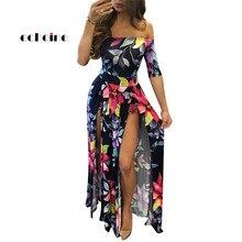 Echoine Women Split Dress Floral Digital Print Half Sleeve Slash Neck Plus Size S-5XL Party Evening Floor Length Charming Outfit