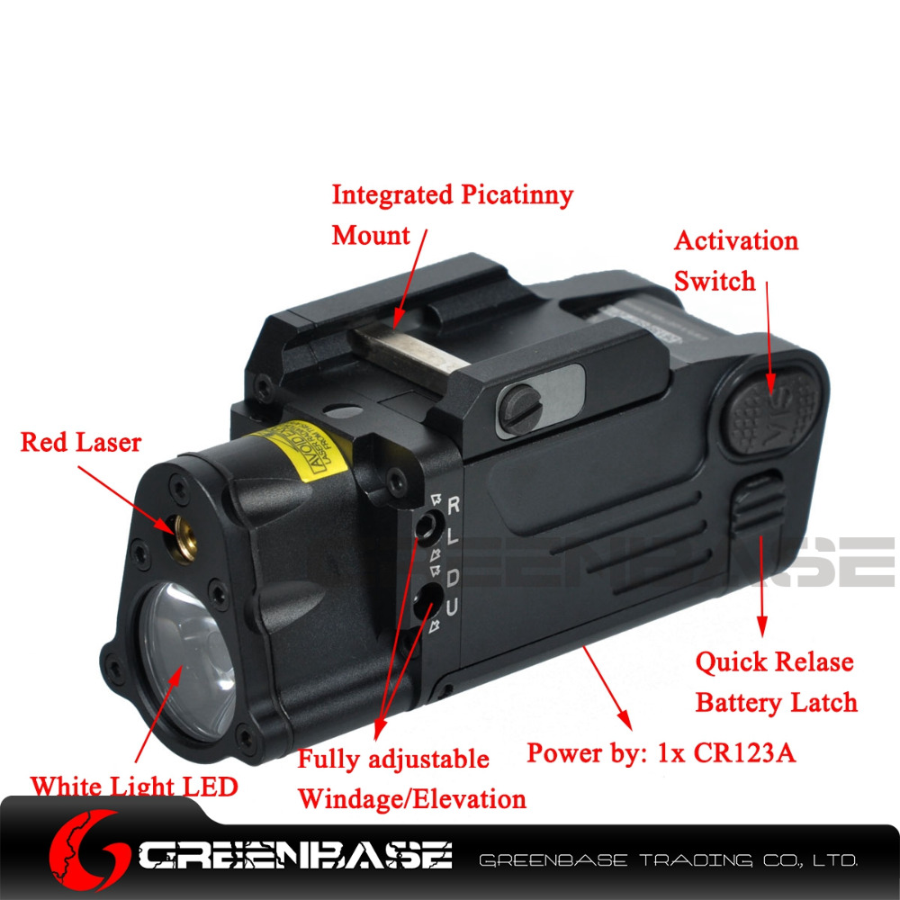 Greenbase CNC Aluminum SBAL-PL Hunting Flashlight Red Laser and LED WeaponLight Constant Momentary Strobe Flashlight For Pistol greenbase tactical weapon light sf x300 hunting flashlight airsoft pistol scout light constant momentary output picatinny rail