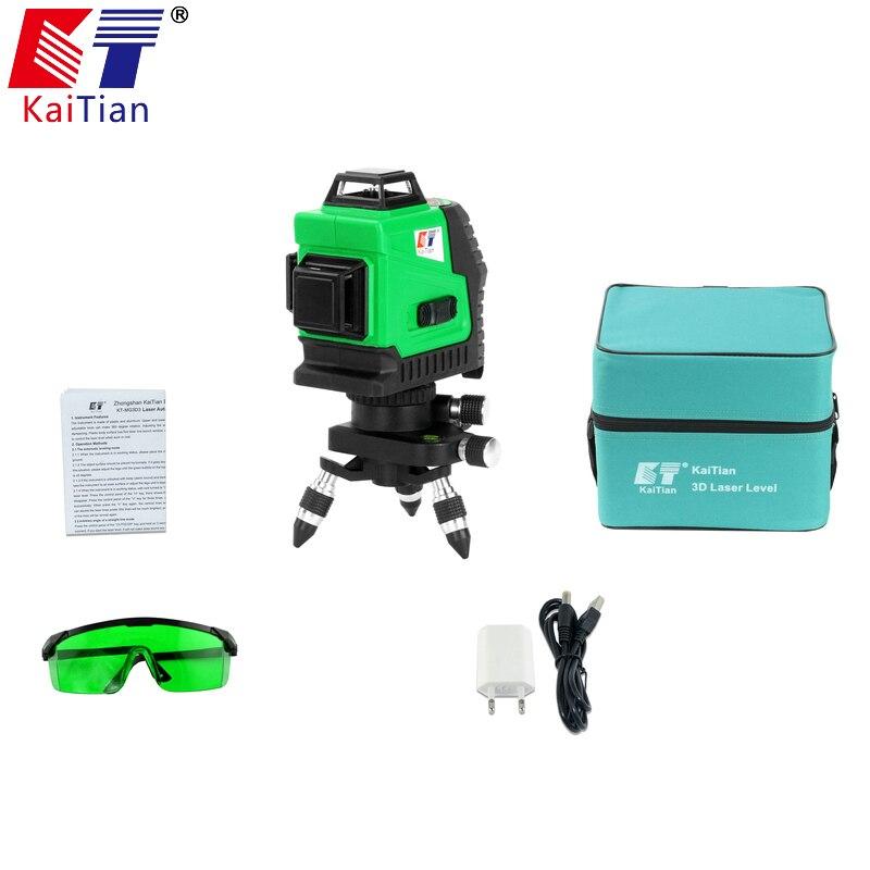 Kaitian 3D Laser Niveau Vert Auto-Nivellement 360 Horizontal Et Vertical Croix 12 Lignes Livella Laser Vert 532nm Laser faisceau Ligne