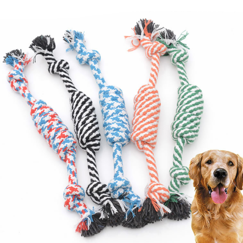 24cm Dog Toy Knot Cotton Rope Pet Puppy Chew Toys Funny Pet Dog Toy Bite Knot Molar Tooth Cleaning Tools 15s6