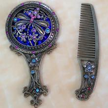 Butterflies handle small mirrors, antique mirrors, folding gift box boutique mirrors, flowers mirror Giving a comb
