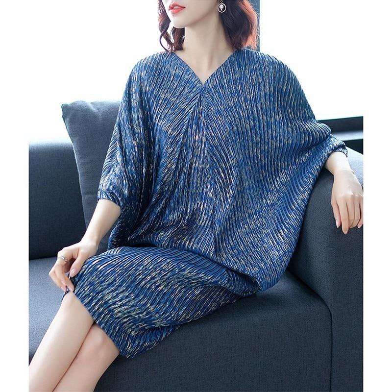 Nouvelle mode col en V grande taille robe femmes imprimer vêtements Vestido printemps robes femmes lâche manches chauve-souris plissée hanche robes F629 - 3