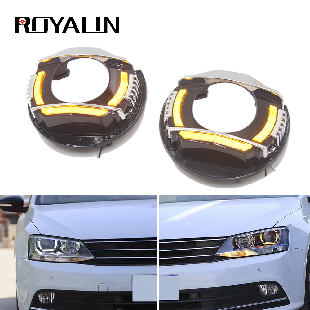 ROYALIN For VW Jetta MK6 LED Headlights DRL Turn Signal Running Lights Reflector Retrofit For Daylight Jetta A6 LED Strips DIY
