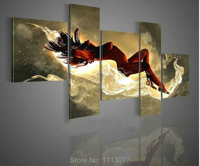 Us 40 42 6 Off 5p Hot Hand Painted High Quality Abstract Red Nude Women Love Oil Painting Home Decor Modern Canvas Wall Picture For Living Room In