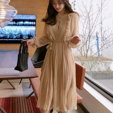 BGTEEVER Vintage O-neck Ruffles Chiffon Women Dress Flare Sl