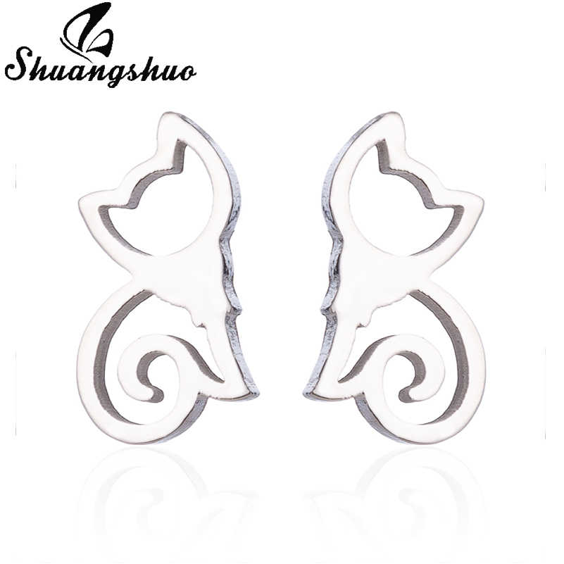 Shuangshuo สแตนเลสต่างหูน่ารักต่างหู Silver สัตว์แมวต่างหู boucle d'oreille oorbellen