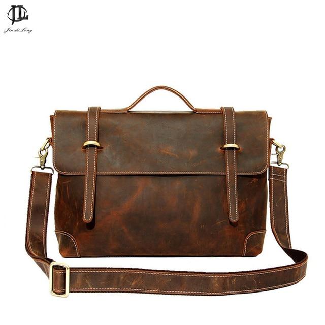 2015 New Retro Crazy Horse Genuine Leather Men's Briefcase Handbag Shoulder Bussiness Zipper Laptop Notebook Messenger Bags
