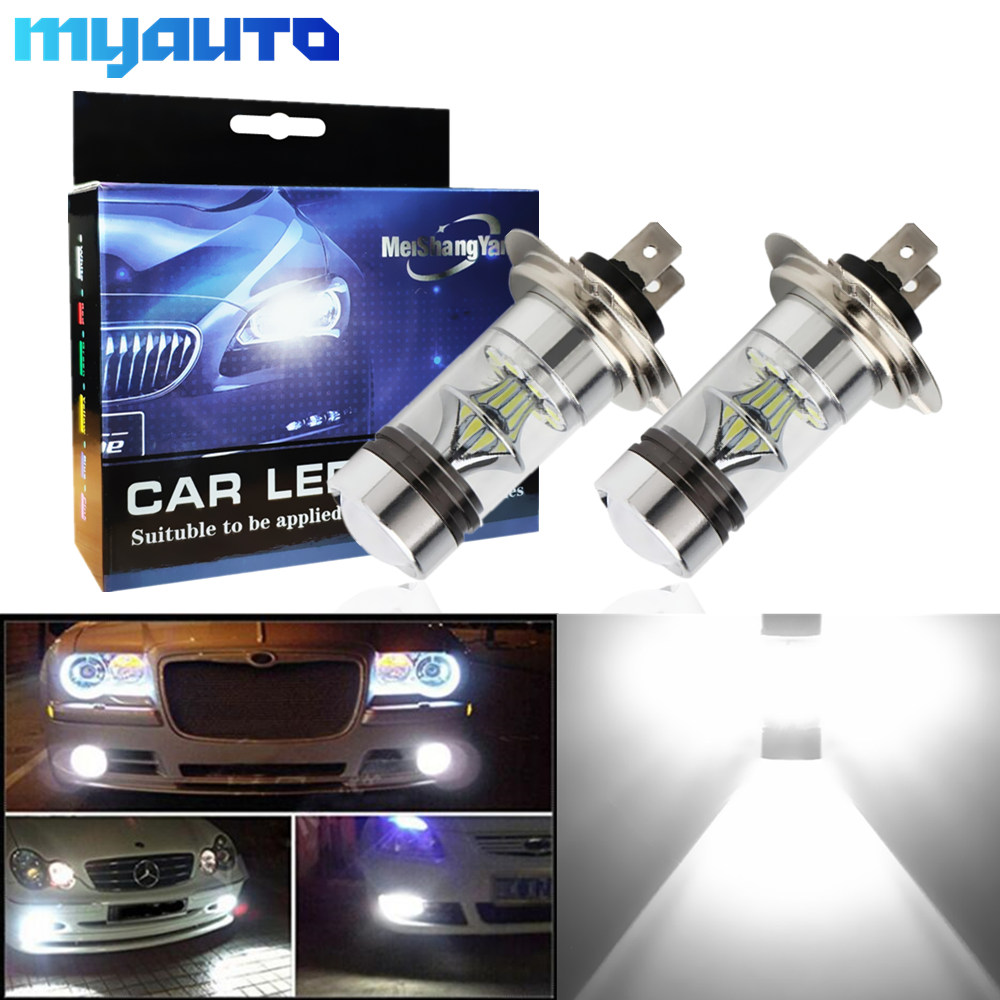 2pcs H7 LED Bulbs 12V~24V 360 Degree For Car Fog Light Auto Lamp 6000K Sourcing Parking -Not Fit For Headlight 100W
