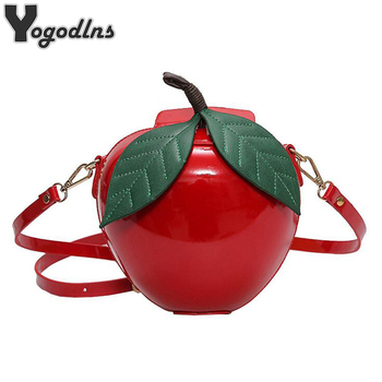 2018 New Hot Cute Cartoon Bags Apple Shape Shoulder Bag for Girls Mini Crossbody Bags Personality Purse Fashion Messenger Bag