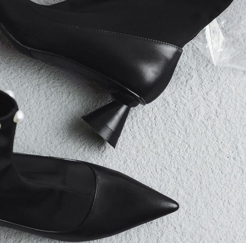 Stylesowner Nuevo Arranque Botas Combate Tobillo Elegante Punta Perlas Estrecha Talón 2018 Estilo Delgado Bootie Sexy Negro Señora BBfRarW