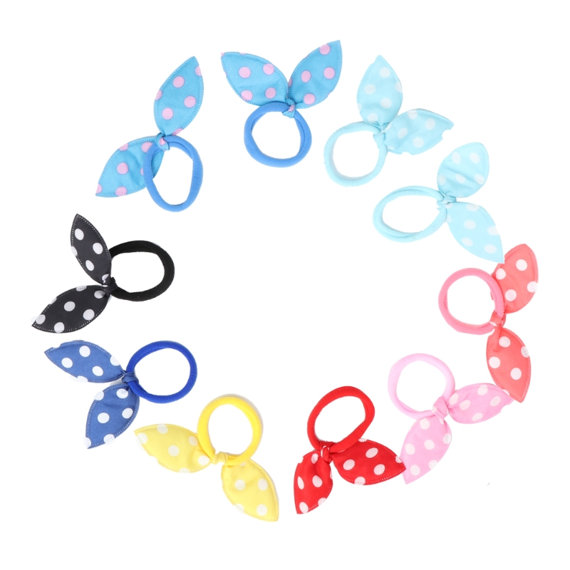 10pcs Kids Girl Rabbit Ears Polka Dot Hair Tie Ponytail Holder Bow Elastic Bands High Quality Apparel Accessories