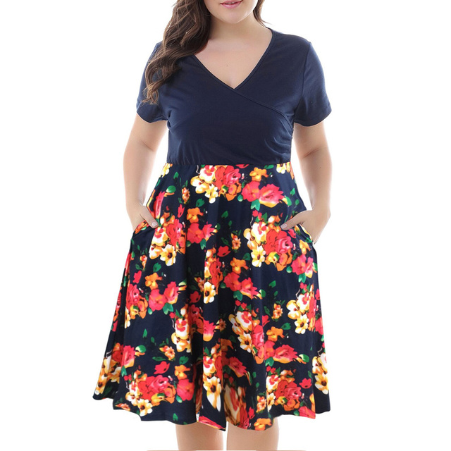 f870c7e7e8 Wipalo Patchwork Floral Print Vintage Women Dress Summer V Neck Short  Sleeves A Line High Waist Dresses Plus Size 3XL 9XL-in Dresses from Women's  ...