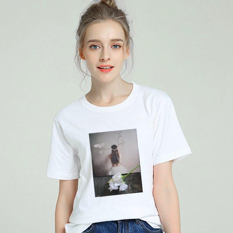 New 2019 Hot T Shirt Women Cotton Sexy Ballet Girls Harajuku Top Tees Short Sleeve Plus Size Tumblr Tshirt Gothic Female Clothes