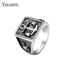 YAKAMOZ Unique Style Anchor Signet Ring Vintage Carving Star Ring for Men Women Punk Cool Design Fine Jewelry Gifts 2017
