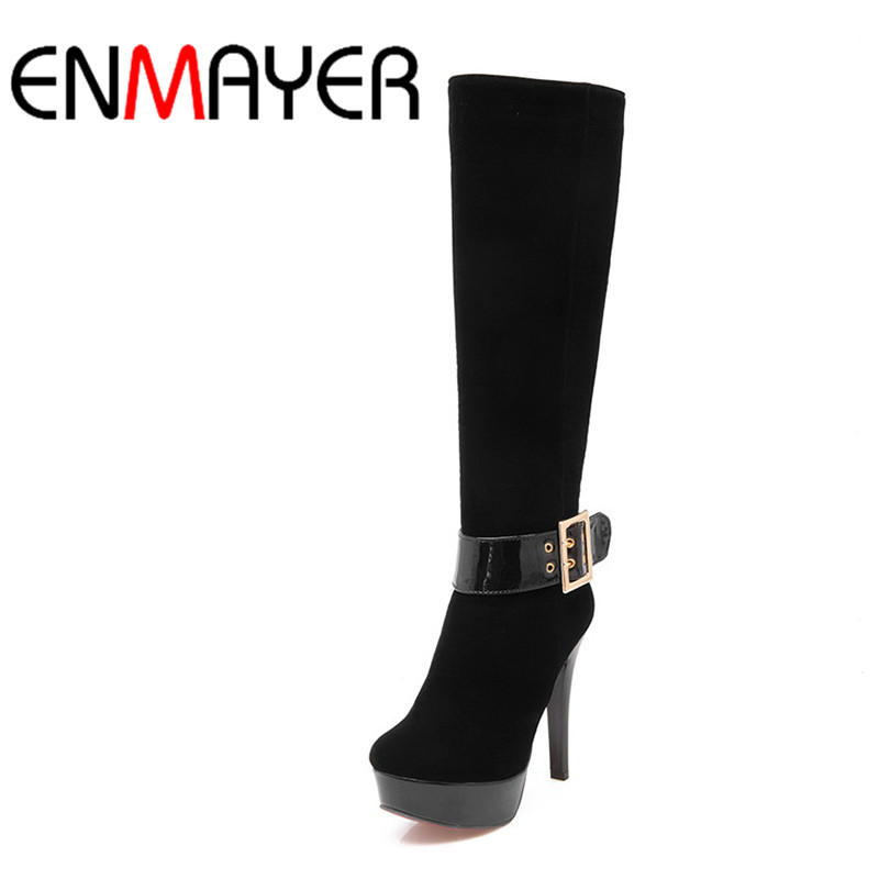 ENMAYER Buckle Strap Round Toe Zippers High Heels Winter Boots Shoes Woman Sexy Red Shoes Large Size 34-43 Knee-hight Boots