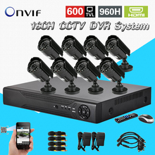 TEATE 8CH CCTV Security Camera System 16CH HDMI DVR Outdoor Day Night IR Bullet Camera Kit Video Surveillance System CK-250